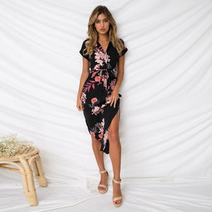 Dresses & Skirts - Boho Summer V-neck Midi Printed Dress